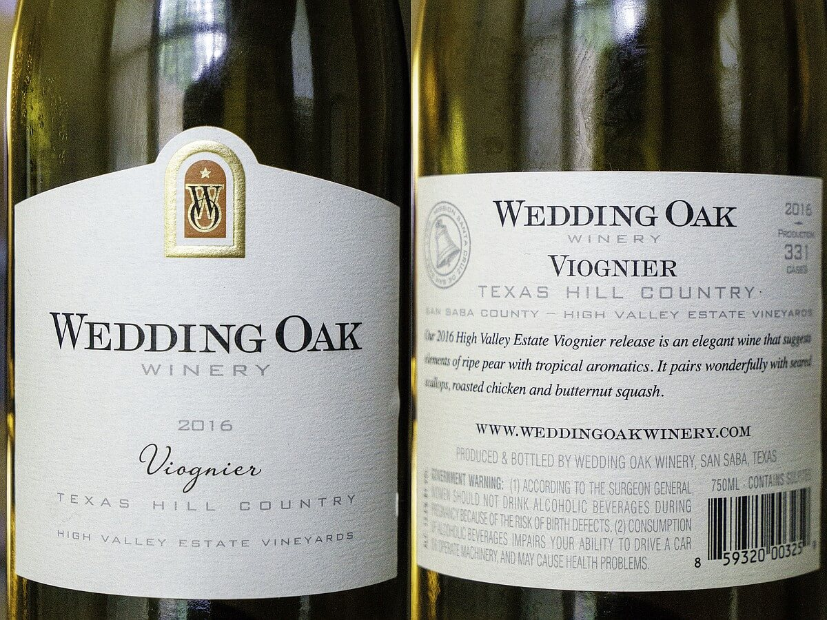 Wedding Oak Winery Viognier labels