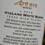Zero 815 Winery HyeLand White Blend 2016 Wine Review