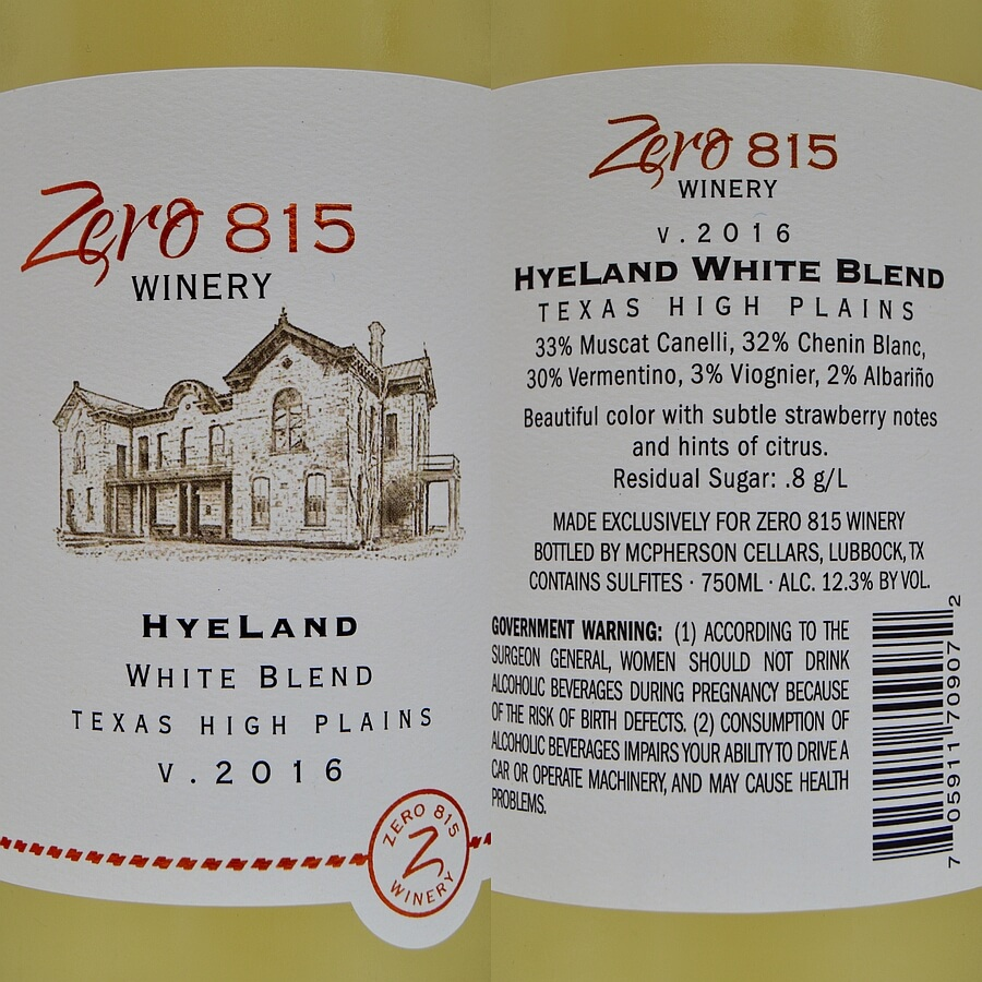 Zero 815 HyeLand white blend 2016 labels