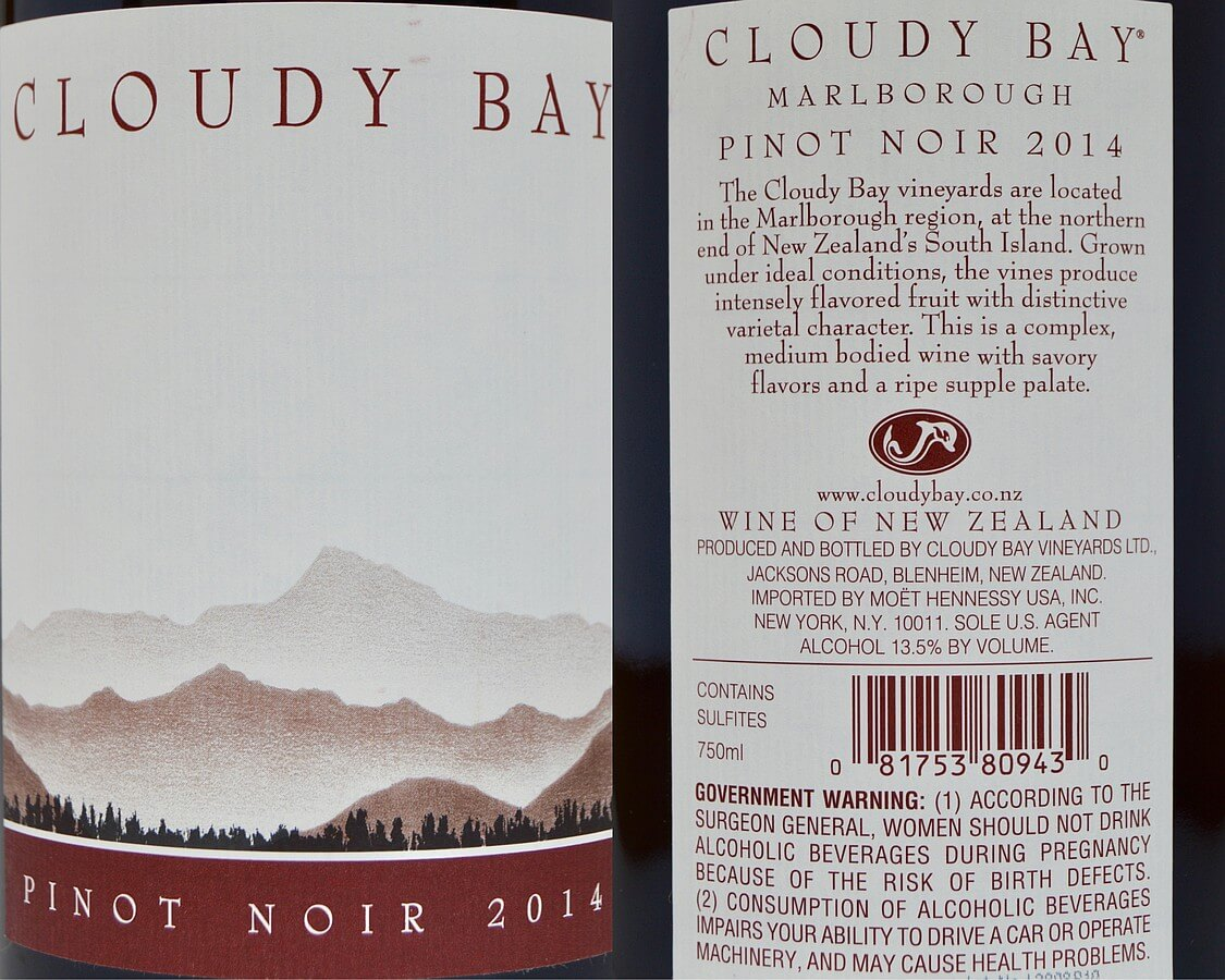Cloud Bay Pinot Noir labels