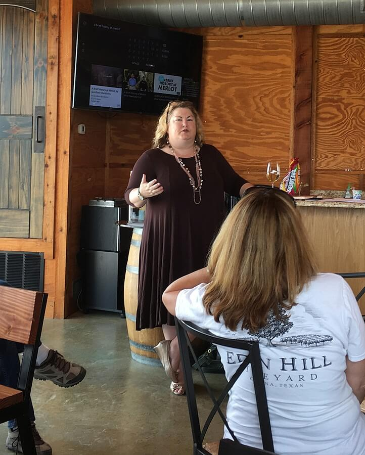 Donna Rene Johnson teaching Tasting Room 101
