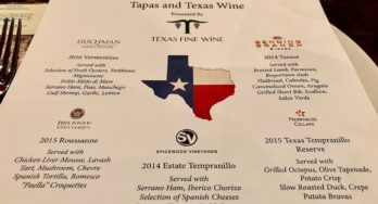 Texas Fine Wine dinner menu