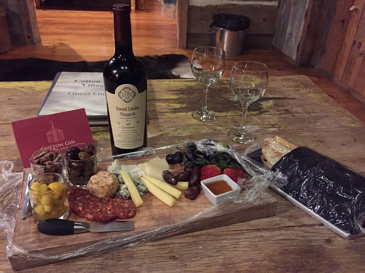 Cabin wine and cheese platter