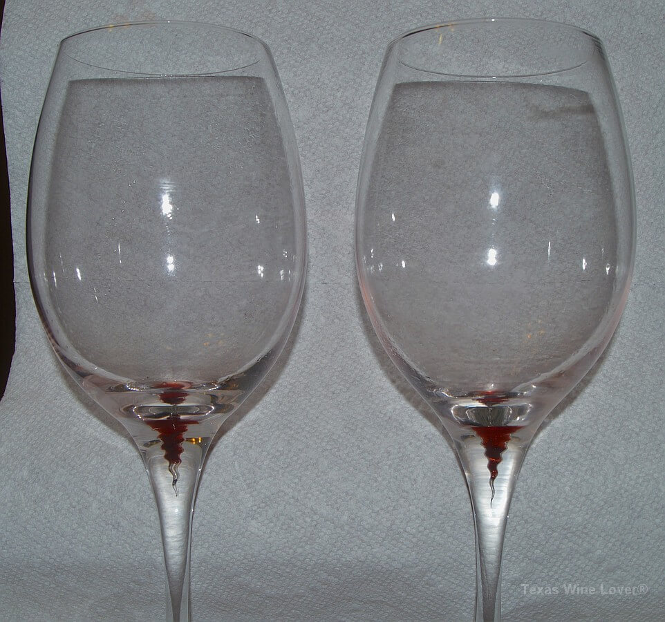 Vacanti wine glasses with sediment