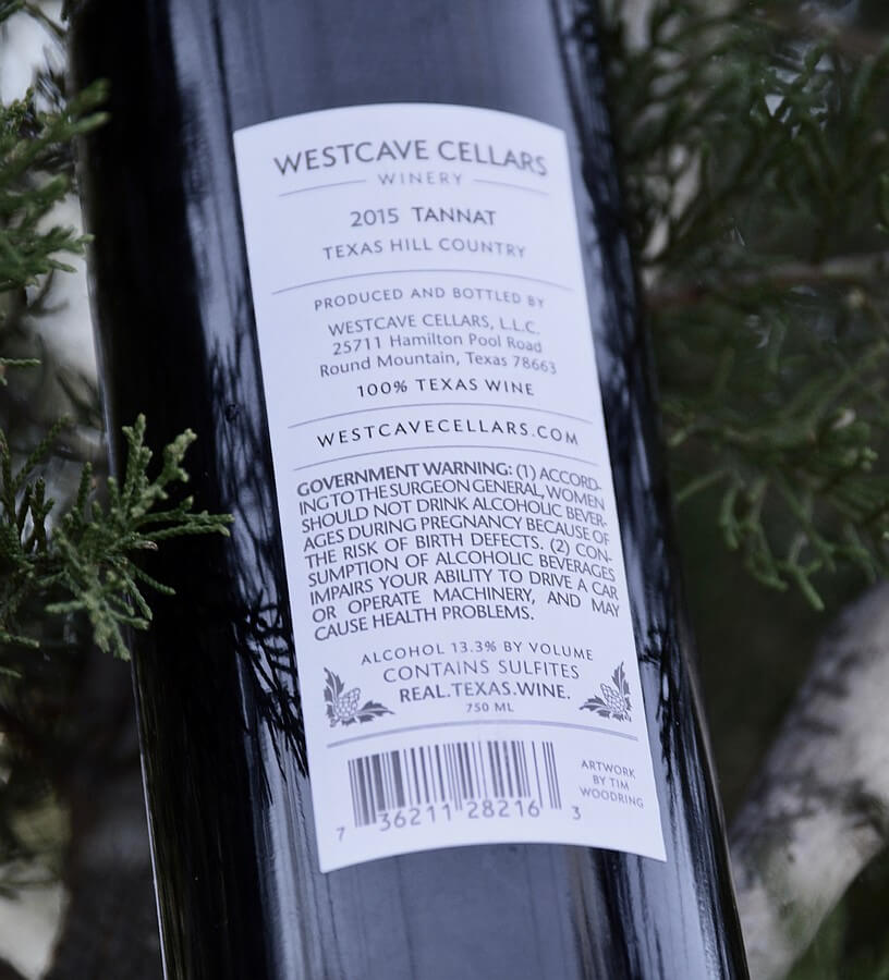 Westcave Cellars 2015 back label