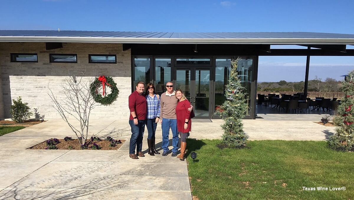 Jeff Mauldin, Lauri Mauldin, Chris Russell, and Carrie Mauldin Russell in front of the Narrow Path Winery Tasting Room (December 28, 2017)