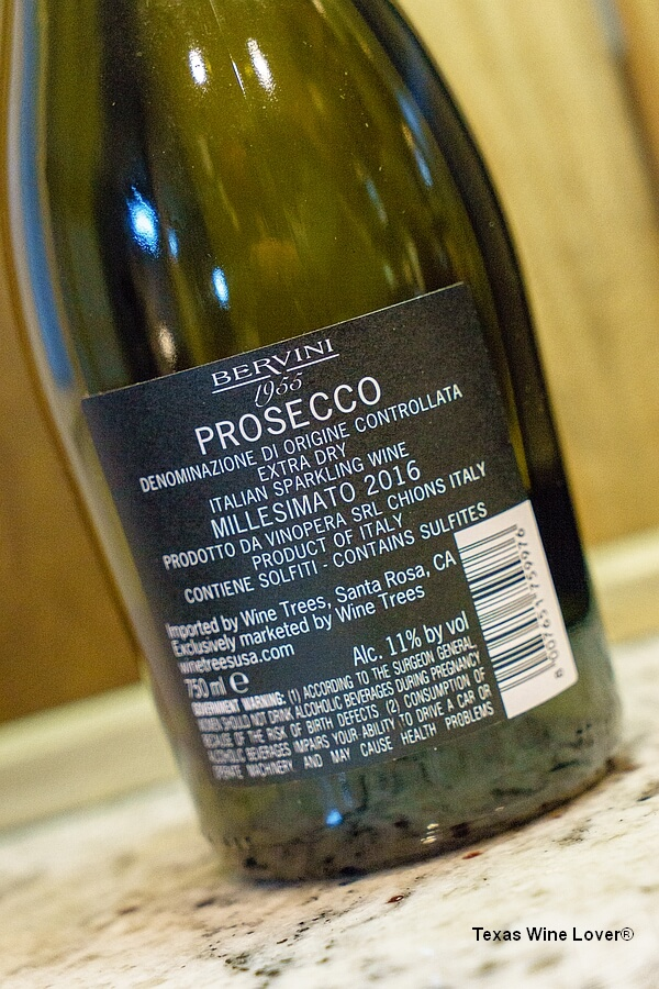Bervini 1955 Prosecco bottle back