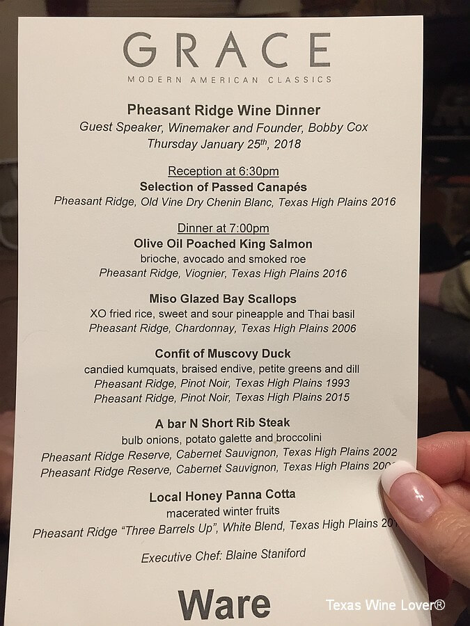 Pheasant Ridge dinner menu