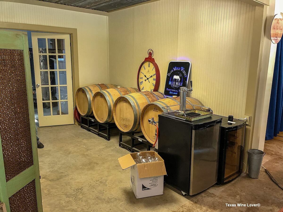 Blue Mule Winery barrels