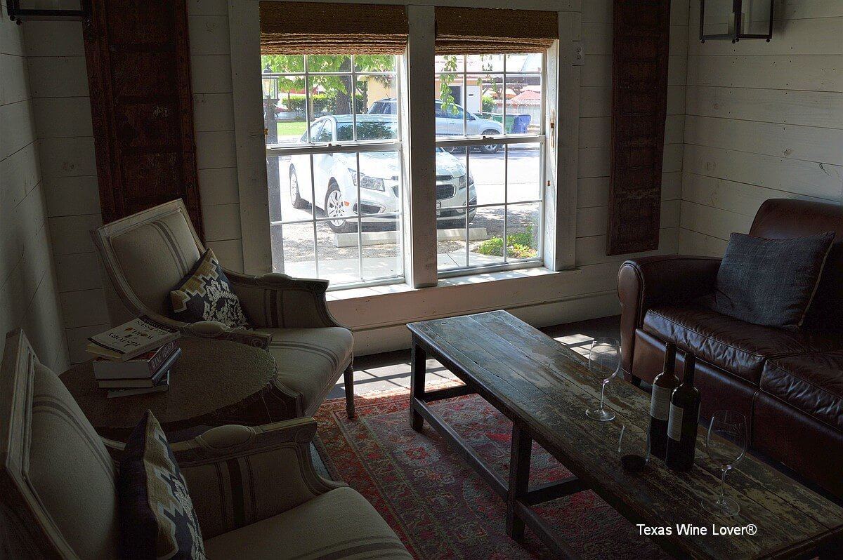 Crowson Wines front window and couches