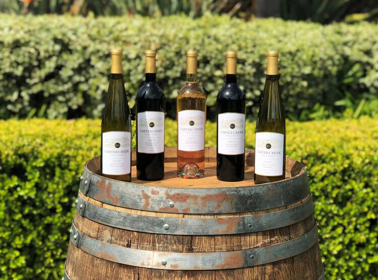 Carter Creek Winery wine bottles