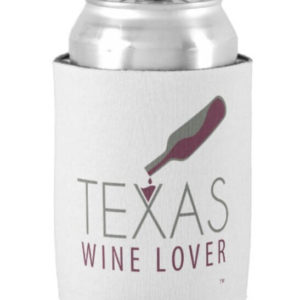 Texas Wine Lover koozie with a can