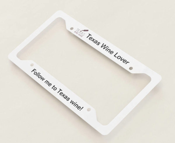 Texas Wine Lover license plate frame angled