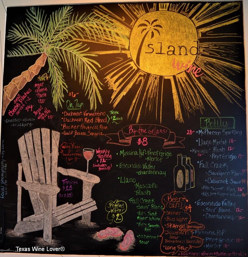 Island Wine menu