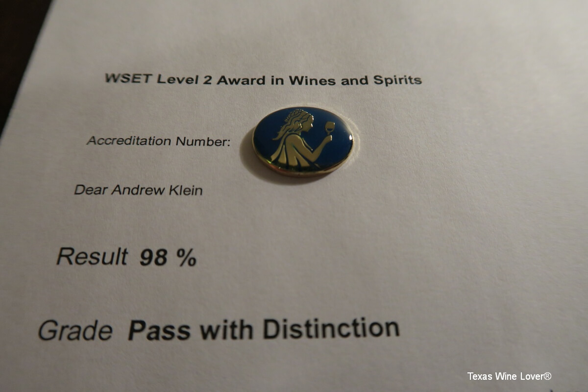 Andrew Klein's WSET 2 results letter