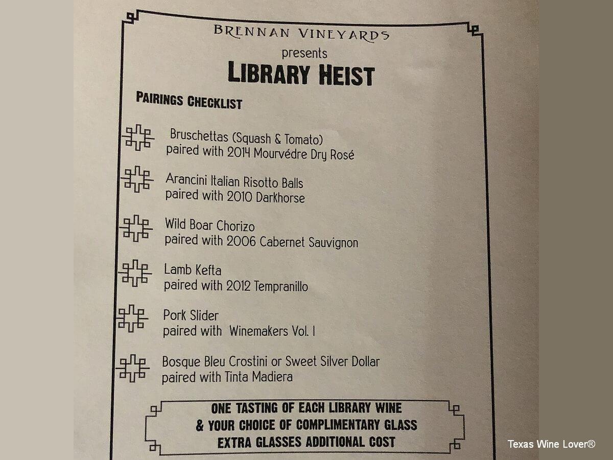 Library Heist tasting menu