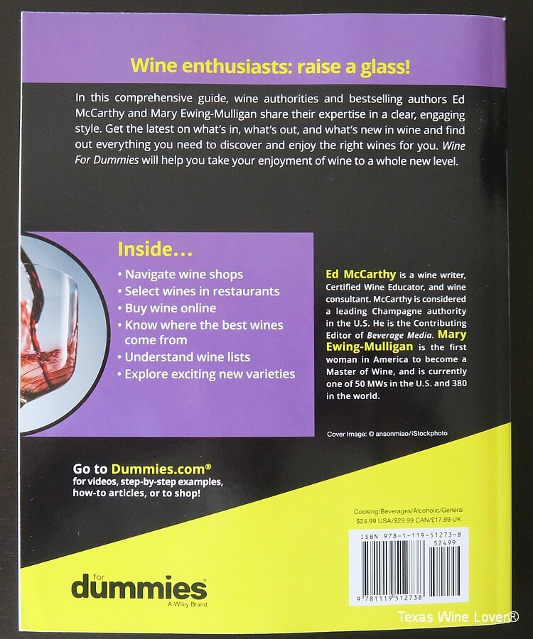 Wine for Dummies rear cover