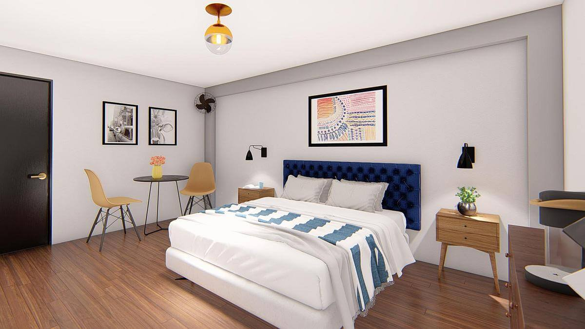 Stonewall Motor Lodge bedroom rendering
