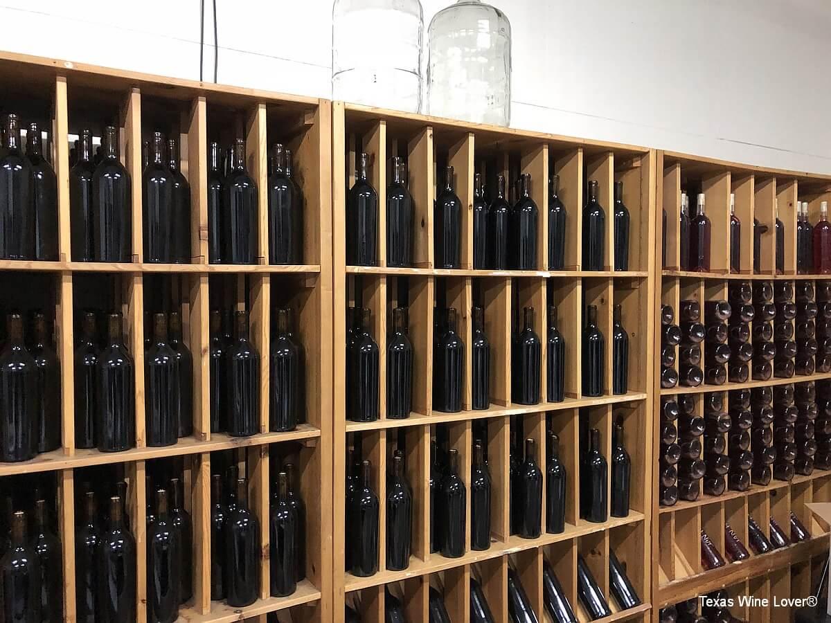 Wine bottles stored upright