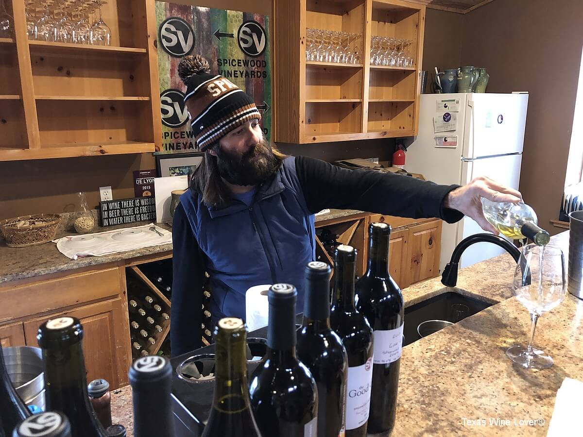 Ron Yates pouring wines