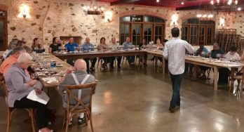 Winemaker Dave Reilly talking to the group about the vineyard & vintages for Duchman Aglianico