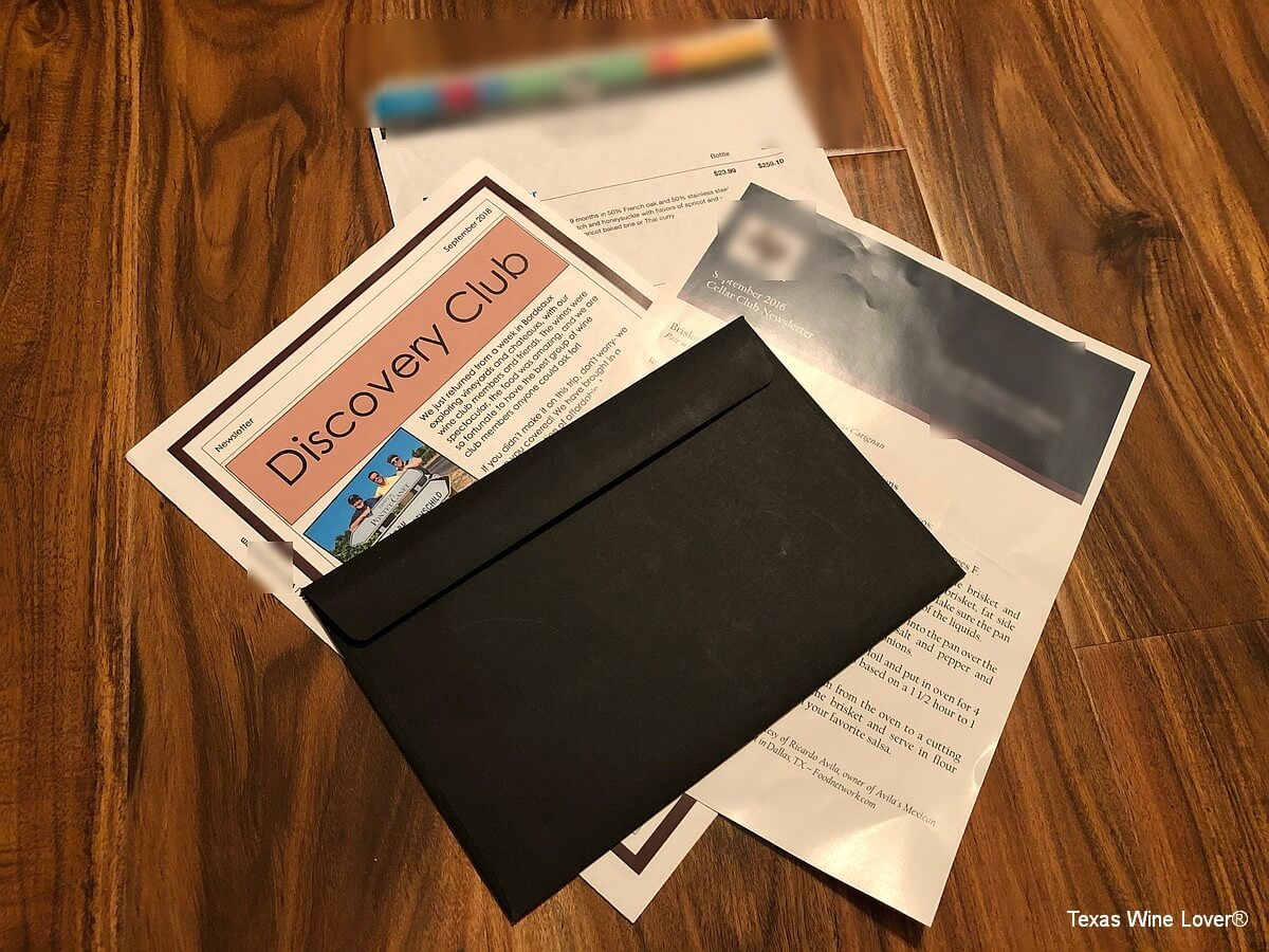 wine club inserts and brochures