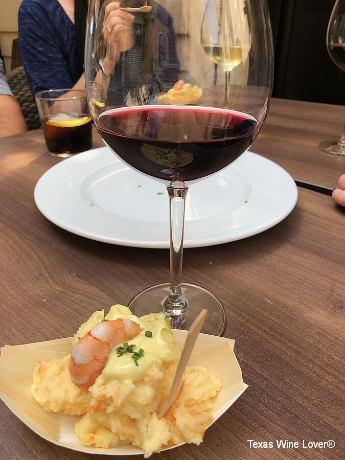 Rioja wine with Russian Salad
