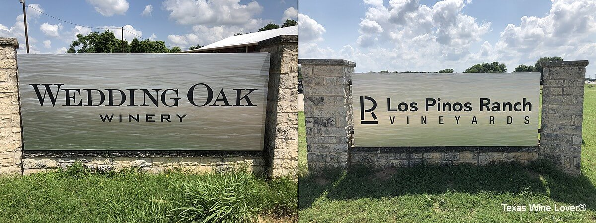 Wedding Oak and Los Pinos signs