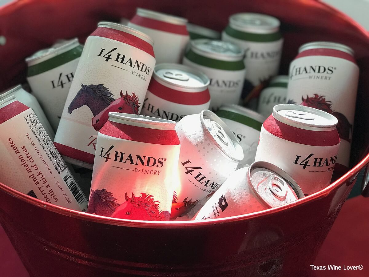 14 Hands Winery canned wines in bucket