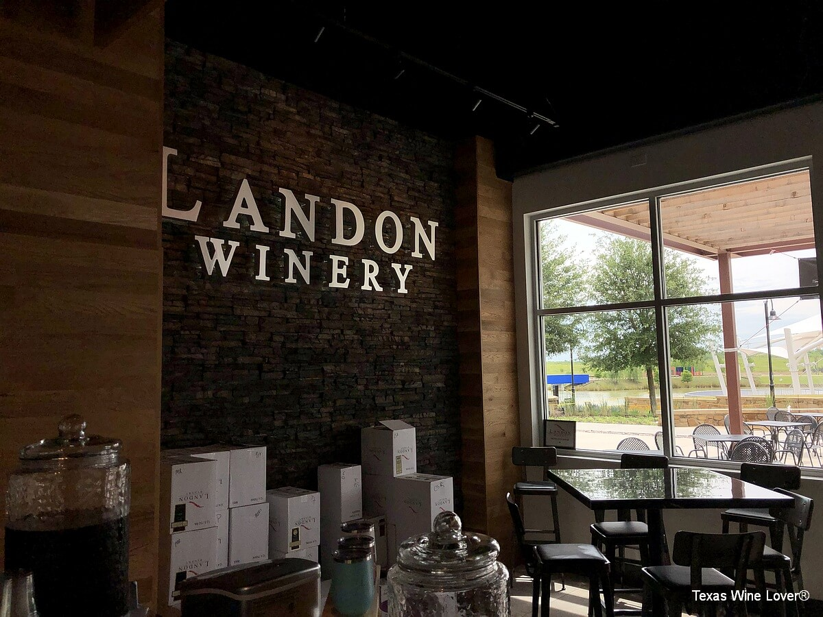 Landon Winery sign inside