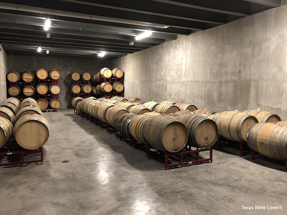 Valley Mills Vineyards barrel room