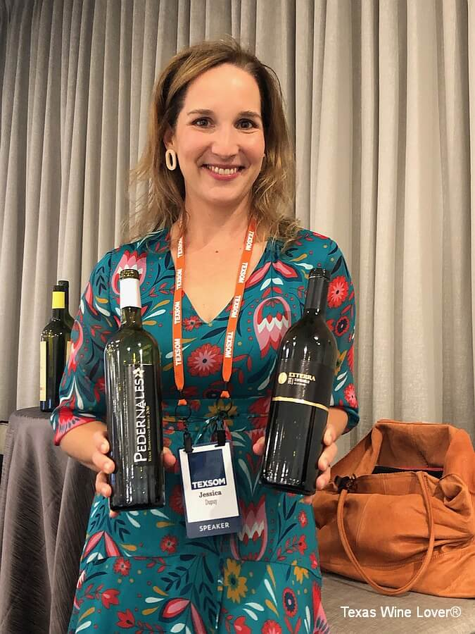 Jessica Dupuy shows Texas wines poured at the Tempranillo seminar