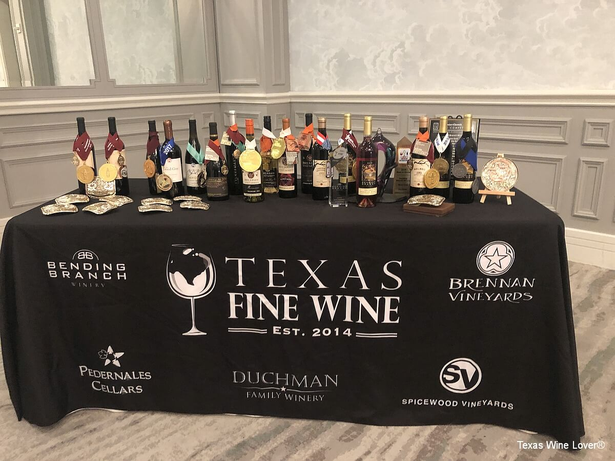 Awards table for Texas Fine Wine wineries