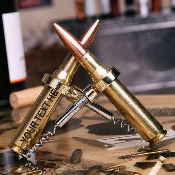 .50 caliber bullet corkscrew opening bottle with etching
