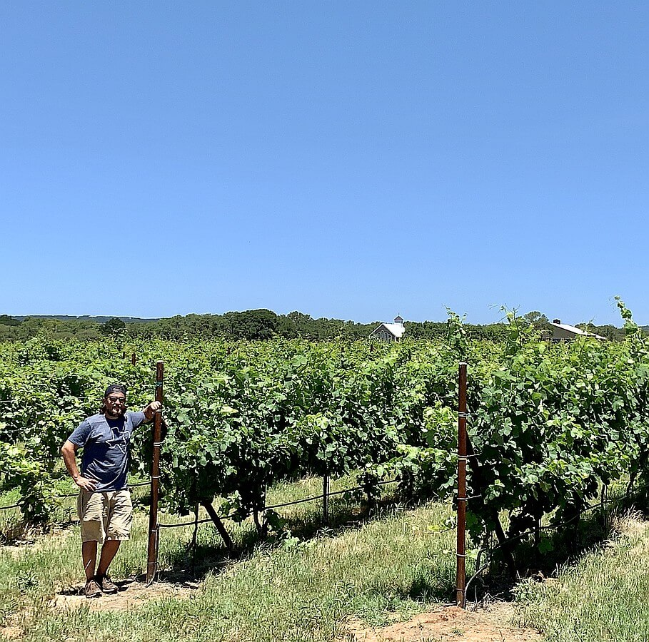 Mike Nelson, winemaker and an Ab Astris proprietor, in front of estate Clairette Blanche vines