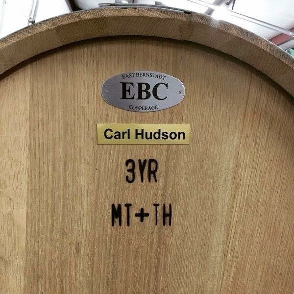 A new American oak barrel from East Bernstadt Cooperage, KY, that was purchased for Lost Oak Winery, Burleson, TX. The branded labeling indicates oak staves were air dried for 3 years before the barrel was constructed, and medium toasting (MT) was applied to the body and the heads of the barrel (TH).