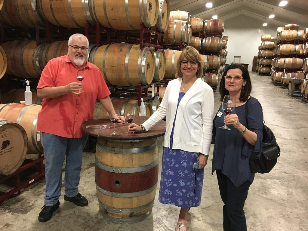 Winemaker Jon Leahy, Becker Vineyards, Stonewall, TX, conducting a barrel tasting for Laurie Ware and Suzy Kreitz