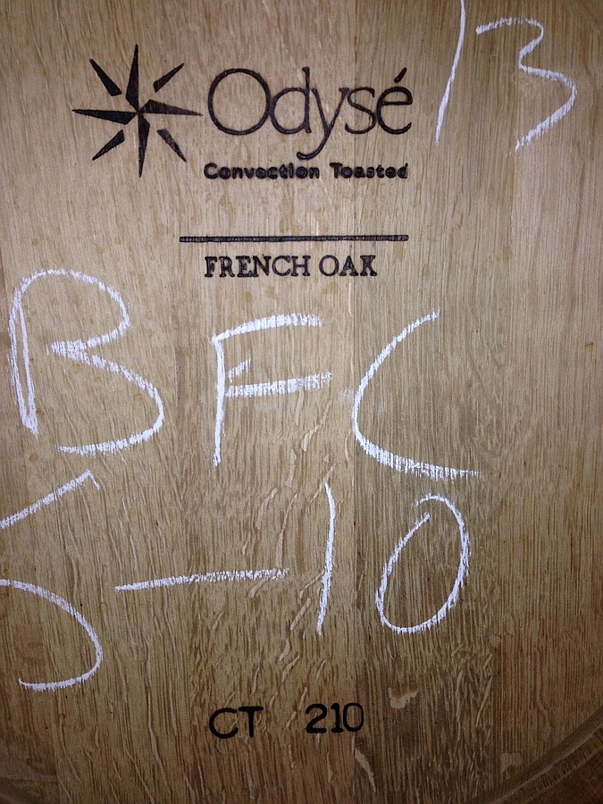 An Odysé French oak barrel used for a barrel fermented (BFC) and aged Chardonnay program at William Heritage Winery, NJ (barrel #5 of 10). The branded labeling indicates toasting by convection oven at 210 degrees Centigrade.