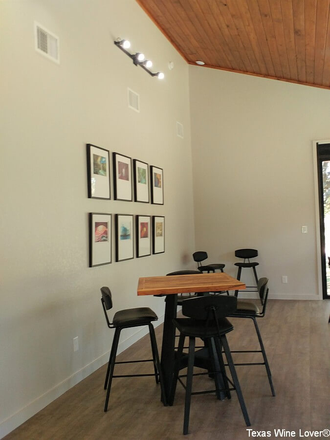 Tasting room interior with wine label art